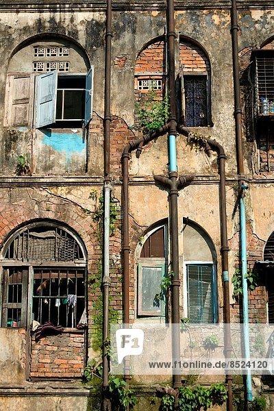 Gebäude Fassade Hausfassade Myanmar alt