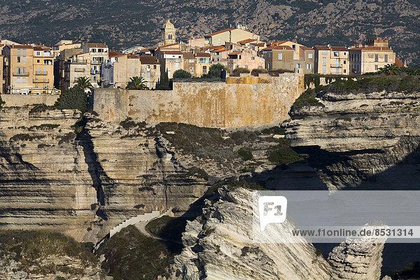 Frankreich Morgen Beleuchtung Licht Steilküste Kreide Bonifacio Corse-du-Sud Korsika