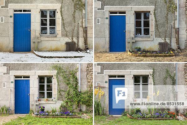 Bauernhaus Frankreich Winter Sommer Tür frontal Herbst Limousin alt