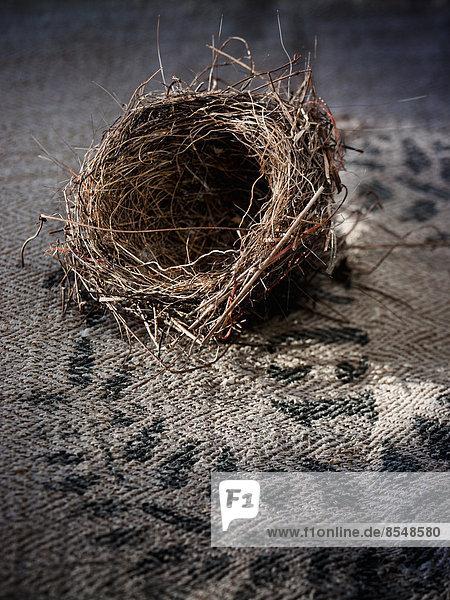Ein kleines  kompliziert gewebtes Vogelnest. Ein kleines, kompliziert gewebtes Vogelnest.