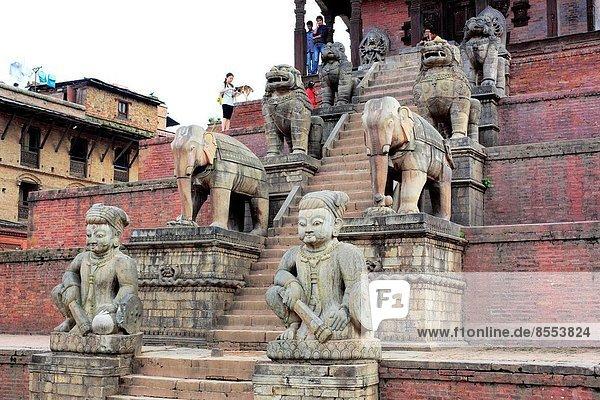 Sculpture at Nyatapola Temple (1702)  Taumadhi square  Bhaktapur  Nepal.