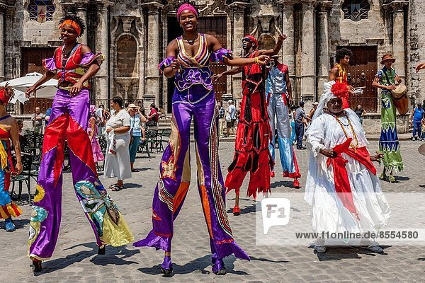 Street Entertainers Dancing On Stilts  Old Havana  Havana  Cuba.