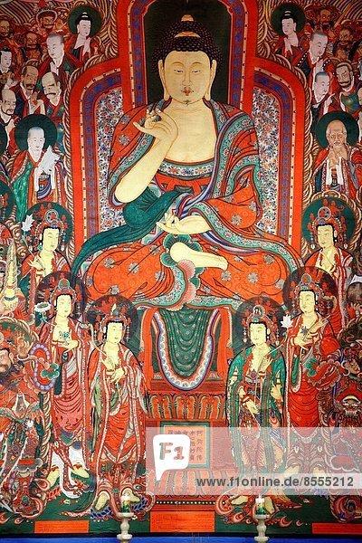 South Korea  Seoul  Bongeun-sa  buddhist temple  wall painting  Buddha image .