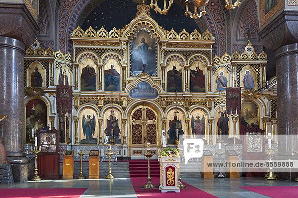 Innenraum mit Ikonostase  Uspenski-Kathedrale  Katajanokka  Helsinki  Finnland