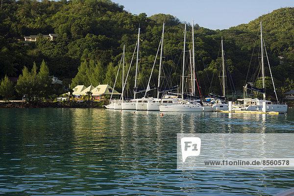 Marina with sailing boats  La Digue  Seychelles
