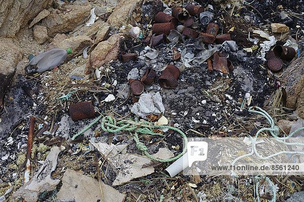 Müll am Strand  Nationalpark Pan de Azúcar  Chile