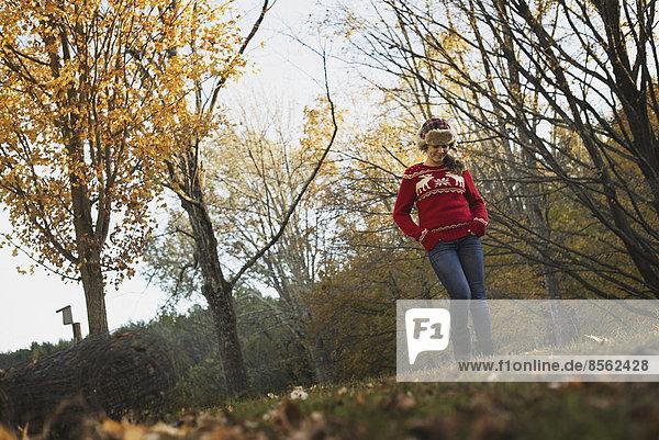 Herbstlaub an den Bäumen auf einem Bauernhof. Ein junges Mädchen in einem roten Strickpullover mit einer warmen Schottenkaro-Wollmütze.