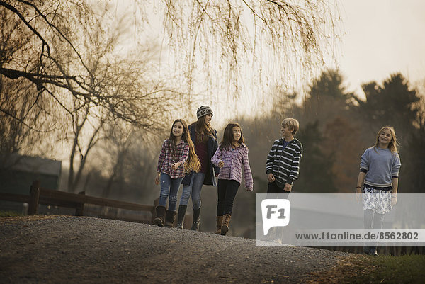 A group of children  a boy and four girls  walking along a path  on a winter's day. An organic farm.