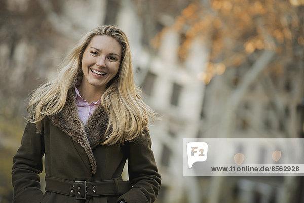 Woman in urban park