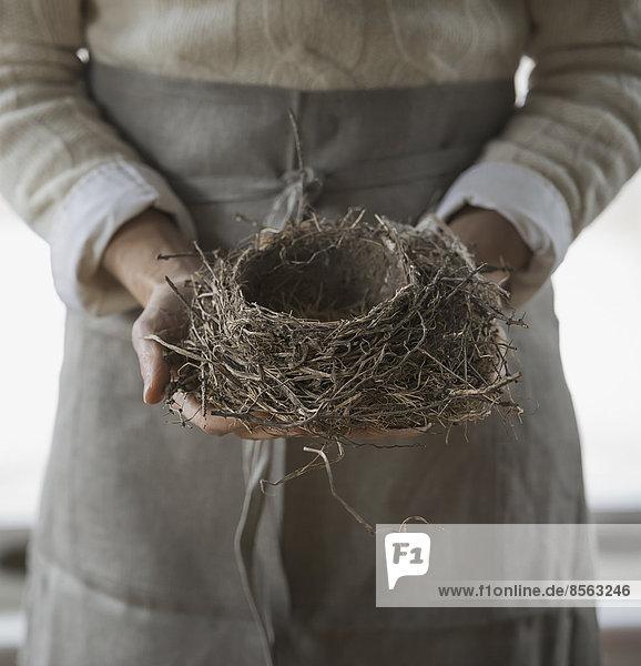 Ein Bio-Bauernhof im Winter im Bundesstaat New York  USA. Eine Frau in einer Arbeitsschürze  die ein geflochtenes Zweigvogelnest hält. Ein Bio-Bauernhof im Winter im Bundesstaat New York, USA. Eine Frau in einer Arbeitsschürze, die ein geflochtenes Zweigvogelnest hält.