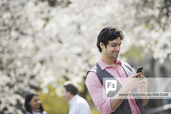 Menschen im Frühling in der Stadt im Freien. Weiße Blüte an den Bäumen. Ein junger Mann  der sein Handy überprüft.