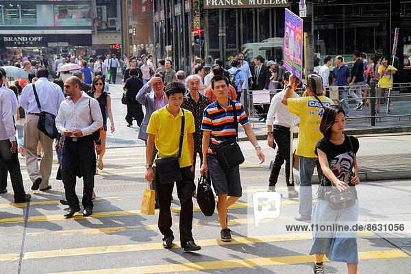 überqueren  Frau  Mann  Straße  Fußgänger  China  Hongkong  Nathan Road