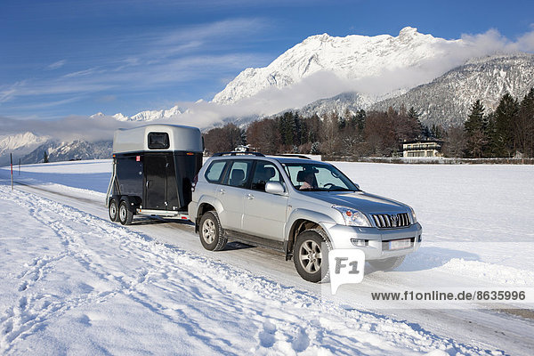 Four wheel drive vehicle towing a horse trailer on a snow-covered road in the mountains  Gnadenwald  North Tyrol  Austria