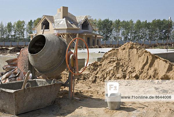 Zementmischer auf der Baustelle