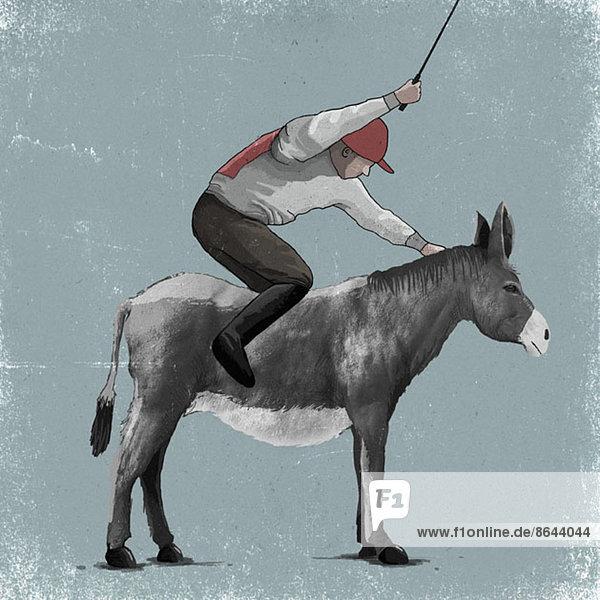 Abbildung eines frustrierten Jockeys auf einem Esel, Abbildung eines frustrierten Jockeys auf einem Esel