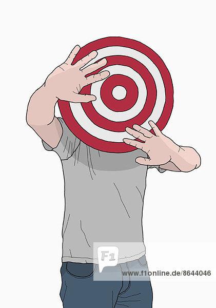 Abbildung eines Mannes mit Ziel vor dem Kopf