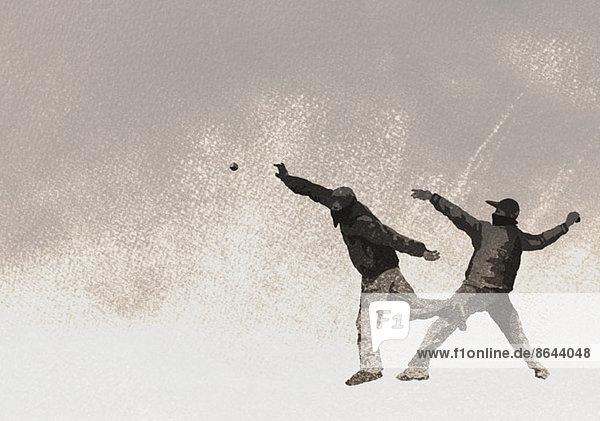 Illustration von Terroristen beim Bombenwerfen