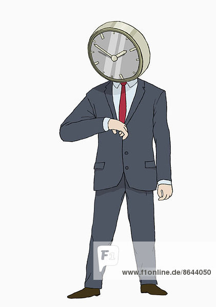 Abbildung eines Geschäftsmannes mit Uhrenkopf