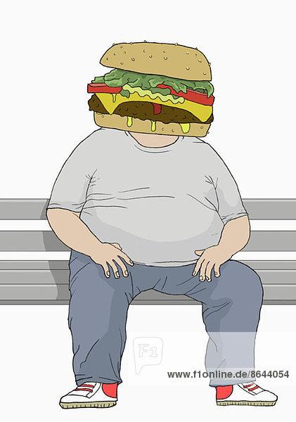 Abbildung eines übergewichtigen Mannes mit Hamburger-Kopf