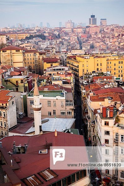 Panoramic view from the Galata Tower over the rooftops of Istanbul  Turkey.