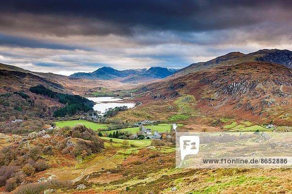 Europa Großbritannien über Hintergrund Ansicht Berg Snowdon Gwynedd Wales