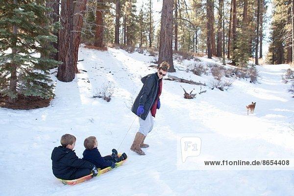 Großmutter zieht Enkel auf Schlitten im verschneiten Wald