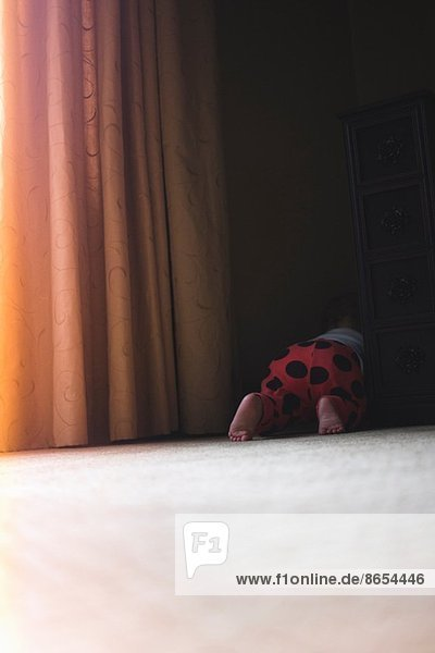 Toddler girl crawling behind curtains
