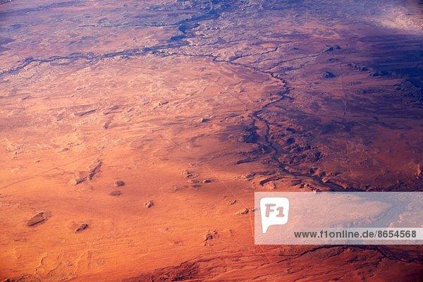 Luftbild der ländlichen Landschaft und Flüsse  Kalifornien  USA