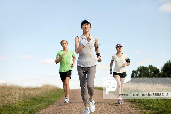 Drei junge Erwachsene joggen auf dem Feldweg
