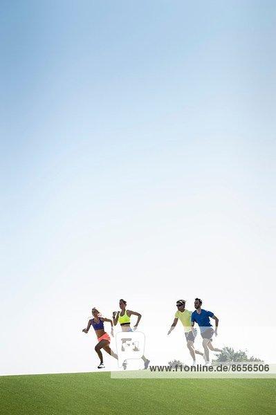 Gruppe erwachsener Läufer  die im Park laufen