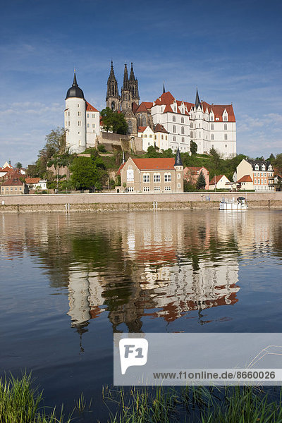 Albrechtsburg and Meissen Cathedral on the Elbe river in Meißen  Saxony  Germany