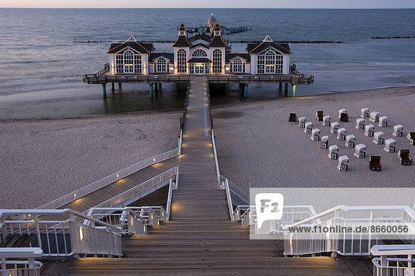 Lighted Sellin Pier  Rügen Island  Mecklenburg-Western Pomerania  Germany