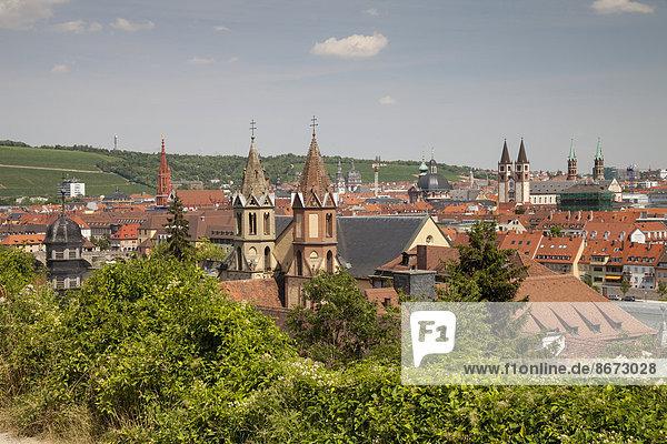 Ausblick vom Weinwanderweg Schlossberg auf die Stadt  Würzburg  Franken  Bayern  Deutschland