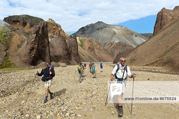 Trekking  Gruppe Wanderer in steinigem Bachbett  Wildfluss Litla Brandsgil  Rhyolith-Gestein  hinten Vulkan Bláhnjúkur  Landmannalaugar  Rangárþing ytra  Suðurland  Island  Skandinavien