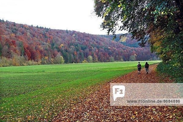 Europa  Mensch  Menschen  gehen  grün  Tal  Fluss  Deutschland  Oberbayern