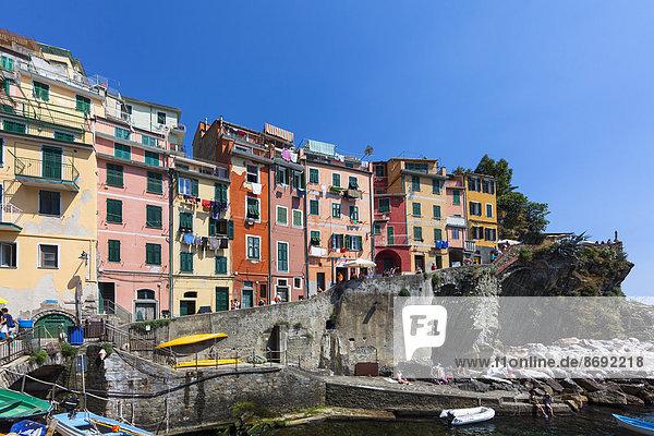 Italien  Cinque Terre  Provinz La Spezia  Ligurien  Riomaggiore  Fischerdorf