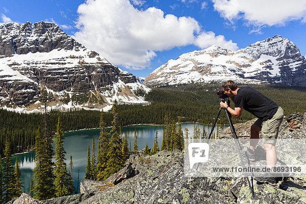 Canada  British Columbia  Yoho Nationalpark  Photographer above Lake O'Hara