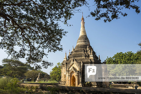 Temple  stupa or pagoda in the temple complex of the Plateau of Bagan  Mandalay Division  Myanmar or Burma