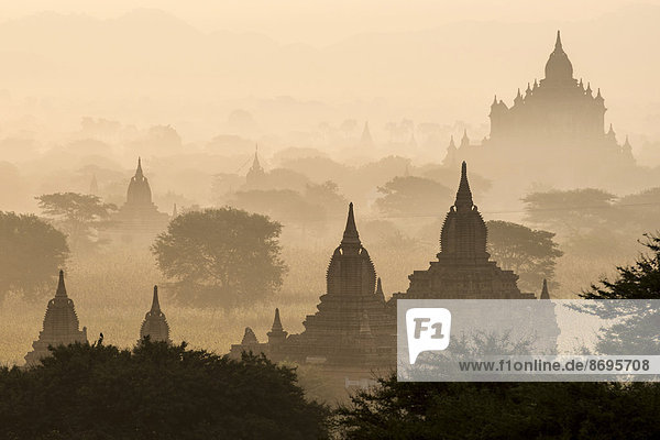 Temples in the morning mist  stupas and pagodas in the temple complex of the Plateau of Bagan  Mandalay Division  Myanmar or Burma