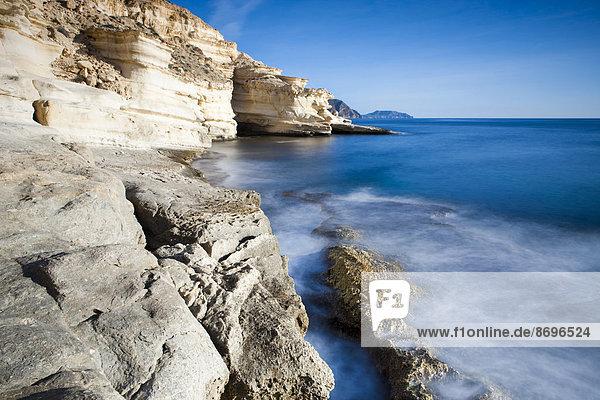 Coastline in the Cabo de Gata-Nijar Natural Park  biosphere reserve  Almería  Andalusia  Spain