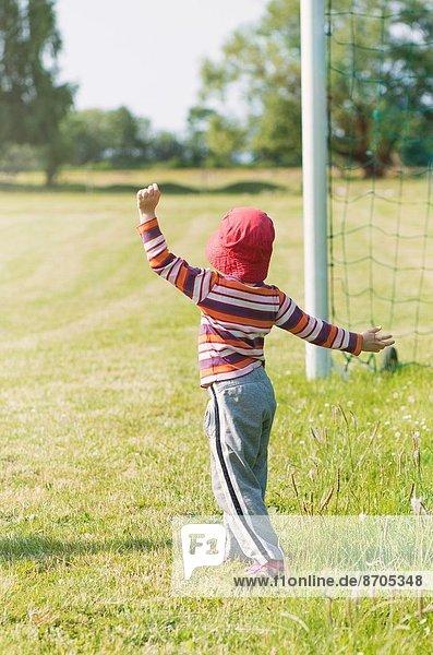 Spiel  Ziel  Netz  Fußball  jung  Mädchen  Football