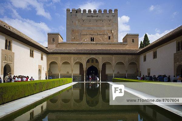 Comares  Patio de los Arrayanes  Alhambra  UNESCO World Heritage Site  Granada  Granada province  Spain