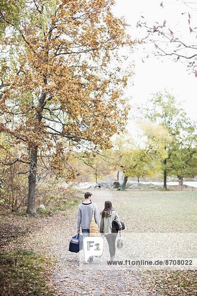 Rückansicht des Paares beim Waldspaziergang