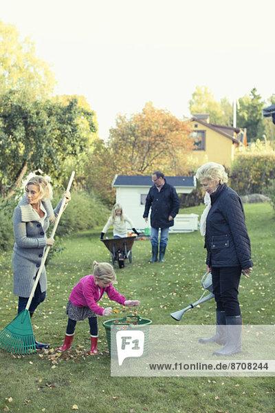 Familie  die Herbstlaub auf dem Hof reibt