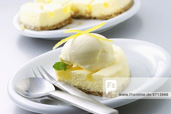 Frische  Scheibe  Teller  Zitrusfrucht  Zitrone  Käsekuchen