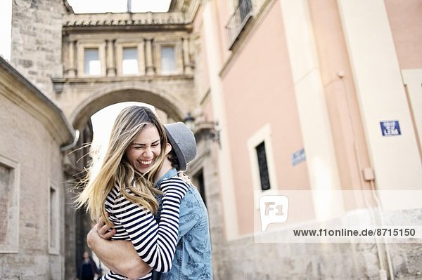 Romantic young couple hugging  Valencia  Spain