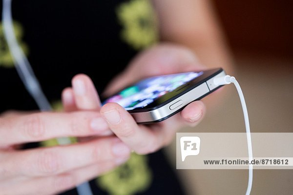 Woman working with smart phone.