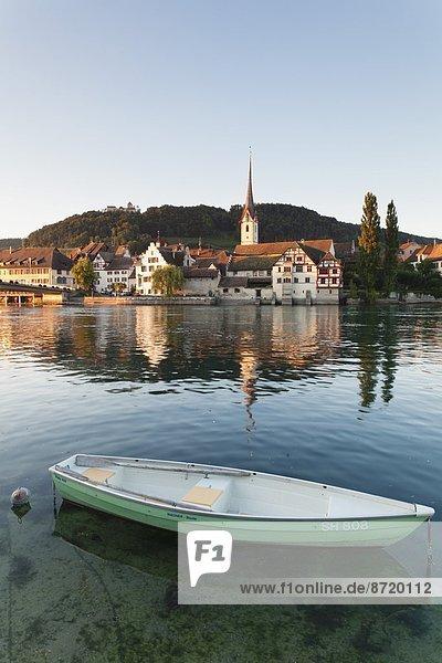 Europa über Stadt Fluss Ansicht Kanton Schaffhausen alt Stein am Rhein Schweiz