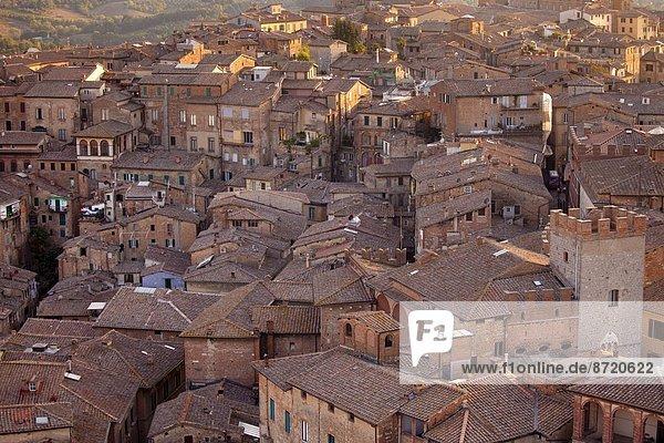 Turmuhr  Ansicht  Luftbild  Fernsehantenne  Italien  Siena
