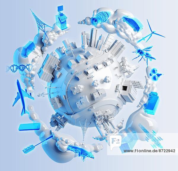 Kommunikation Energie energiegeladen Technologie Wolke Transport Industrie Business EDV Elektronische Datenverarbeitung Globus
